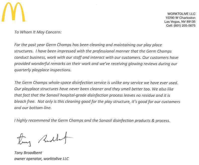 Client Review McDonalds Letter of Recommendation Germ Champs